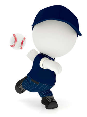 3D pitcher throwing a baseball ball - isolated over a white background  photo