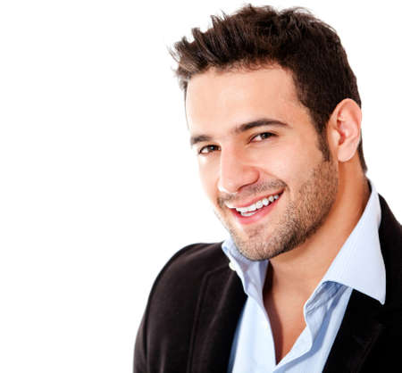 bel homme: Homme d'affaires d�contract�e souriant - isol� sur un fond blanc