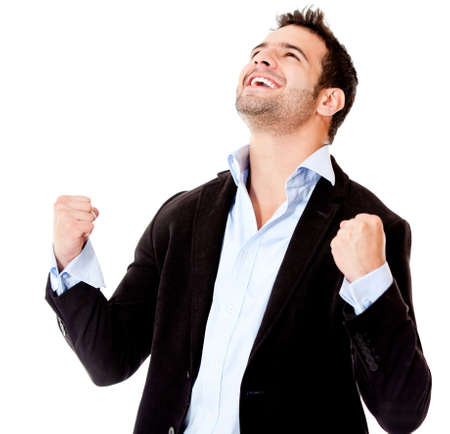 excited people: Successful businessman celebrating - isolated over a white background