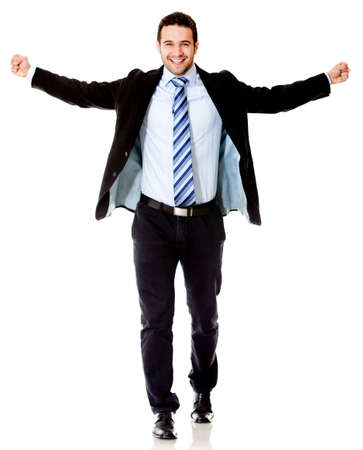 arms up: Successful business man with arms open - isolated over a white background  Stock Photo
