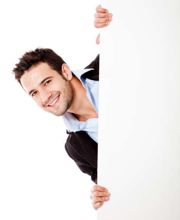 Happy businessman with banner - isolated over a white background  photo