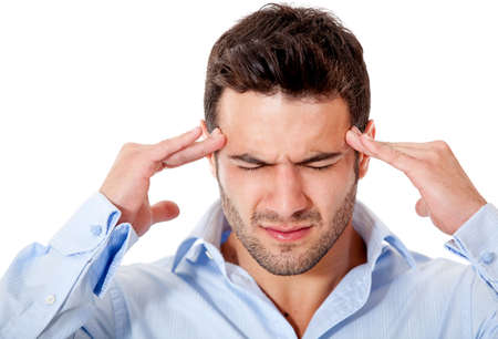 hoofdpijn: Stressed zakenman met een hoofdpijn - geà ¯ soleerd over white Stockfoto