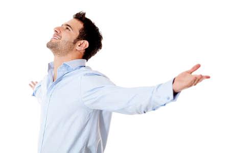uomo felice: Uomo d'affari di successo con le braccia aperte - isolato su sfondo bianco Archivio Fotografico