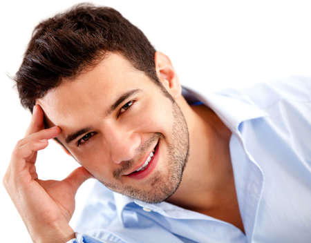 joyful businessman: Casual business man looking confident - isolated over white  Stock Photo