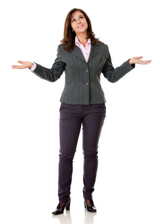 hesitant: Hesitant business woman - isolated over a white background