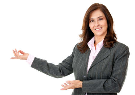 presenting: Business woman presenting something - isolated over a white background  Stock Photo