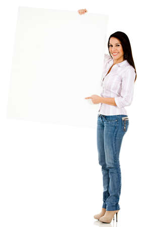 Happy woman holding a banner - isolated over a white background  photo