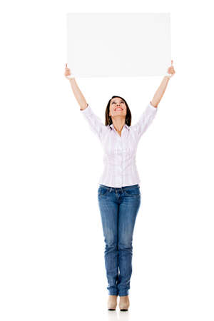 Woman holding a banner - isolated over a white background  photo