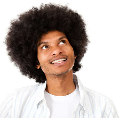 Thoughtful man with an afro - isolated over a white background photo