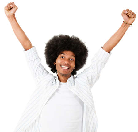 Excited black man with arms up - isolated over a white background  photo