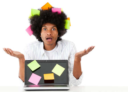 multitask: Overwhelmed afro man with post it notes - isolated over a white background