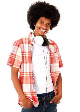 Cool black man with headphones - isolated over a white background  Stock Photo - 15036710