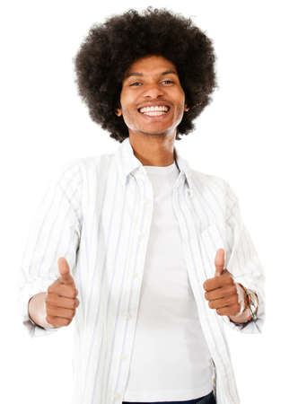 Happy black man with thumbs up - isolated over a white background Stock Photo - 15044253