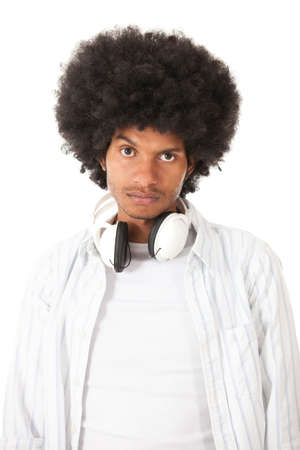 Upset afro man - isolated over a white background  Stock Photo - 15044266