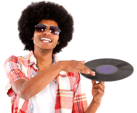 remix: Afro man acting as DJ - isolated over a white background  Stock Photo