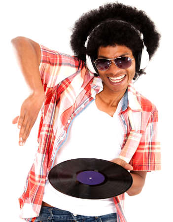 Happy DJ remixing music - isolated over a white background  Stock Photo - 15036722