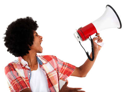 american revolution: Revolutionary black man screaming with a megaphone - isolated  Stock Photo