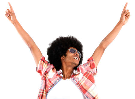 arms  outstretched: Excited black man looking cool with arms up - isolated over a white background