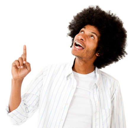man pointing up: Black man pointing up  - isolated over a white backgorund