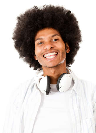 Black man with headphones - isolated over a white background  Stock Photo - 15058881