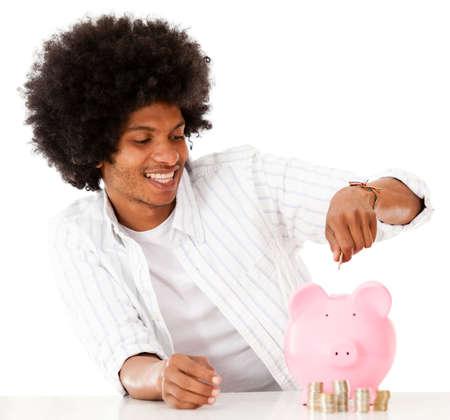 coinbank: Hombre negro ahorrar dinero - aislados en un fondo blanco Foto de archivo