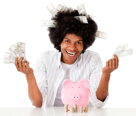 coinbank: Hombre rico negro con sus ahorros - aislados en un fondo blanco
