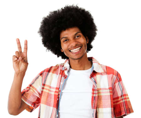 Peace Sign Hand Black Black Man Making a Peace Sign