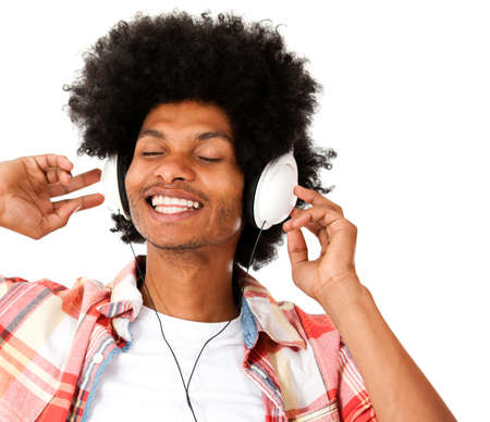 Afro man with headphones enjoying the beat - isolated over a white background  Stock Photo - 15044272