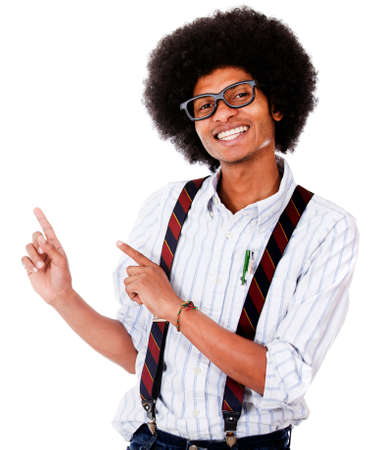 Happy nerd pointing something - isolated over a white background  photo