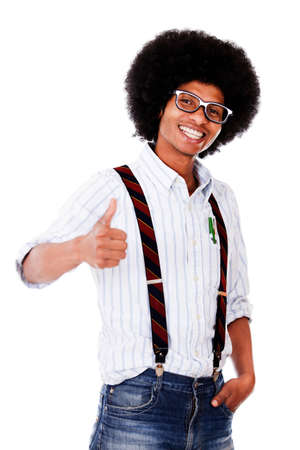 Happy nerd with thumbs up - isolated over a white background  photo