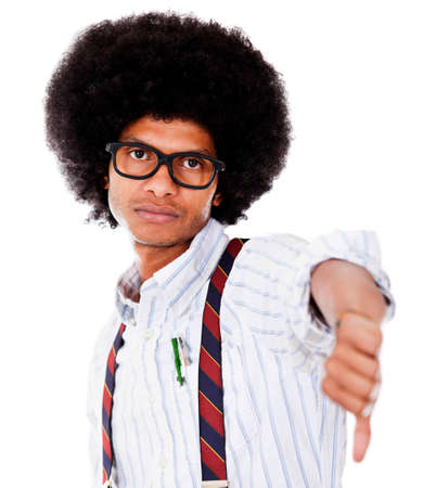Nerd with thumbs down - isolated over a white background  photo