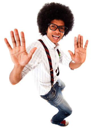 Geeky black man having fun dancing - isolated over a white background  photo
