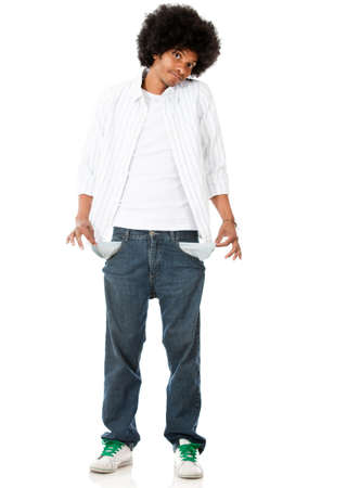 Broke man with empty pockets - isolated over a white background  photo