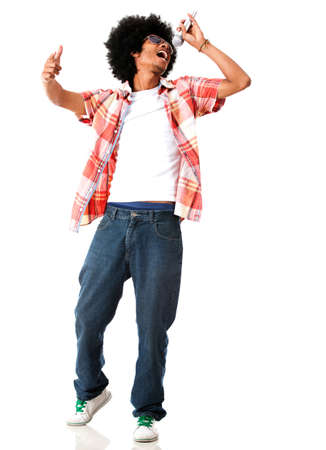 singers: Black male singer - isolated over a white background