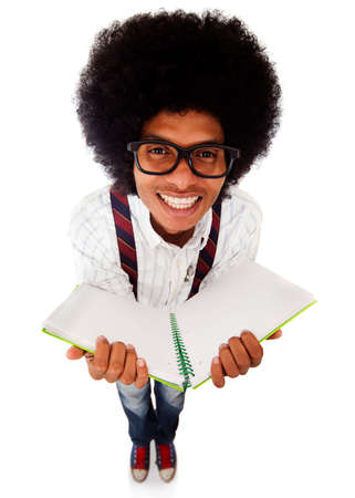 brainy: Happy nerd student holding a notebook - isolated over a white background
