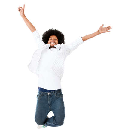 Excited black man jumping - isolated over a white background  photo
