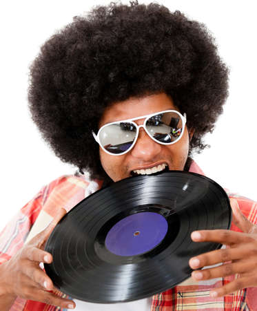 sound bite: Disco man with an afro having fun - isolated over white background