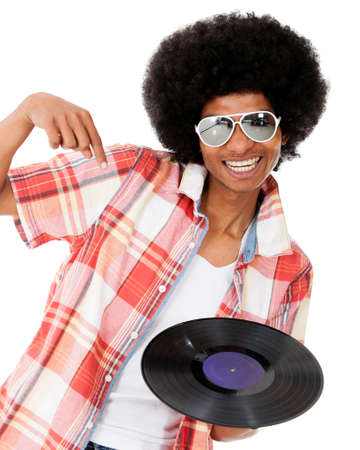 Happy DJ with a disco style - isolated over a white background  photo