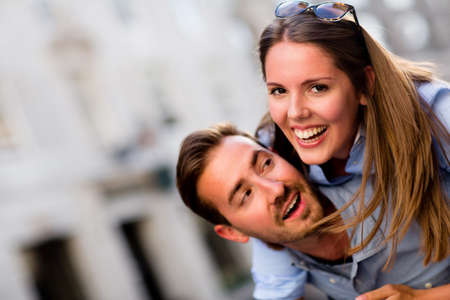 Beautiful loving couple having fun and smiling Stock Photo - 15503057