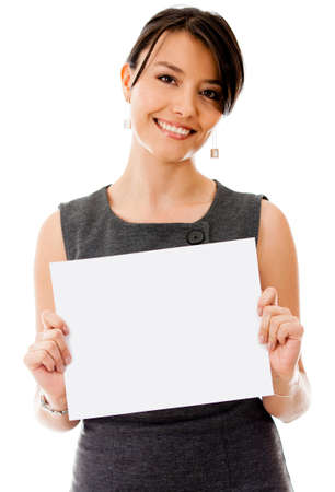 displaying: Business woman holding a banner - isolated over a white background