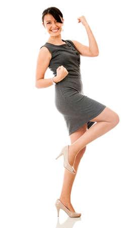 personas celebrando: Mujer de negocios que parece muy emocionada - aislados en un fondo blanco