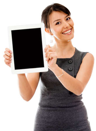 readers: Business woman holding a tablet computer - isolated over a white background