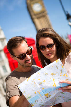 lost love: Happy couple sightseeing in London on their vacations  Stock Photo