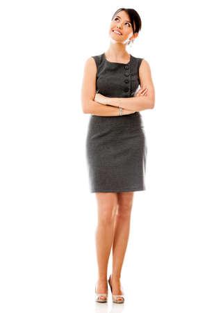 mujeres pensando: Mujer de negocios pensativo - aislados en un backgorund blanco