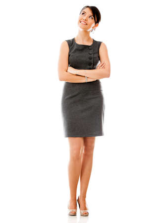 business woman: Thoughtful business woman - isolated over a white backgorund