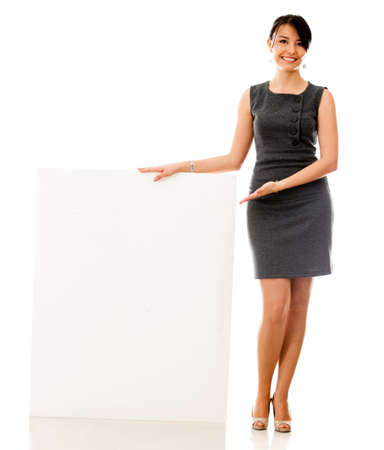 introducing: Business woman with a banner - isolated over a white background