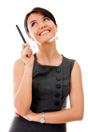 femme regarde en haut: Femme d'affaires pensive regardant - isol� sur un fond blanc Banque d'images