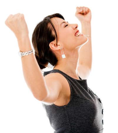 personas celebrando: Emocionado mujer de negocios la celebraci�n de un triunfo - aislados en un fondo blanco