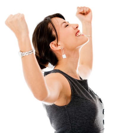 people celebrating: Excited business woman celebrating a triumph - isolated over a white background  Stock Photo