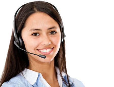 Customer service representative wearing headset - isolated over a white background  photo